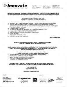 Mitsui Grinder Preventive Maintenance Program